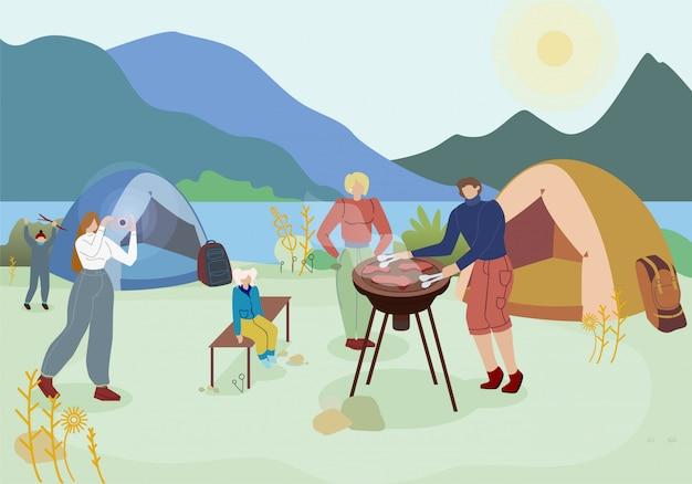 Passeio em família, acampar ilustração em vetor plana Vetor Premium