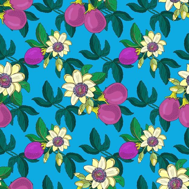 Passiflora passiflora, maracujá roxo sobre um fundo azul. padrão sem emenda floral. folhas, broto e flores exóticas brilhantes de maracujá. ilustração de verão para imprimir têxteis, tecidos. Vetor Premium