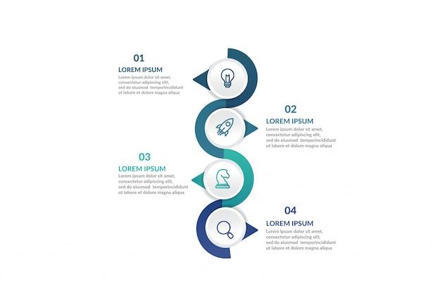 Passo infográfico modelo para apresentação Vetor Premium