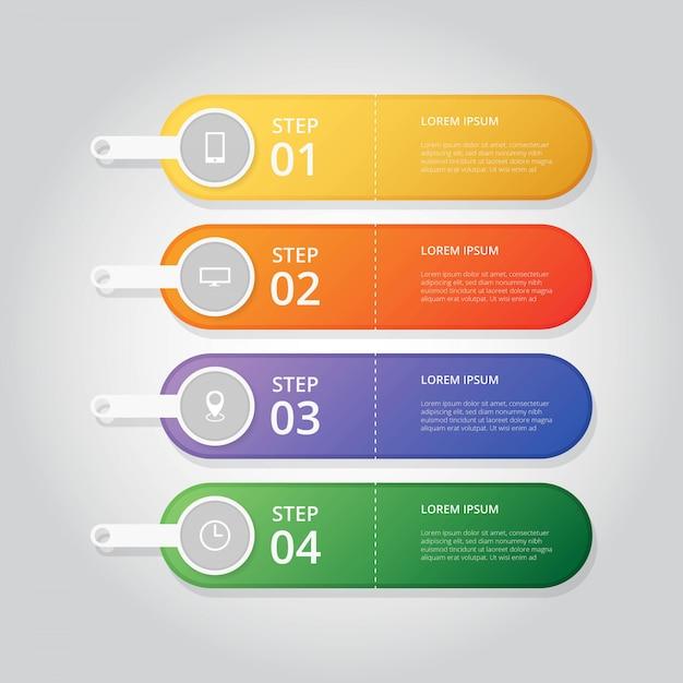 Passo infográfico moderno Vetor Premium