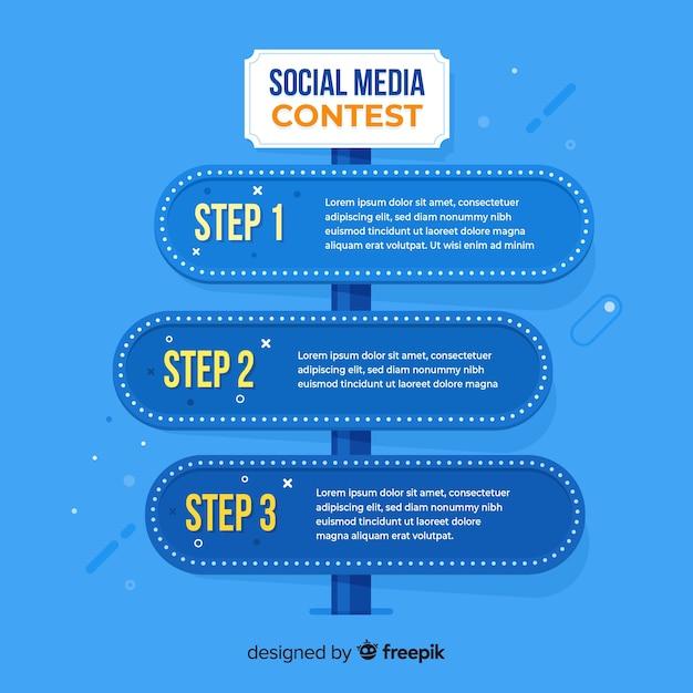 Passos do concurso de mídia social com design plano Vetor grátis