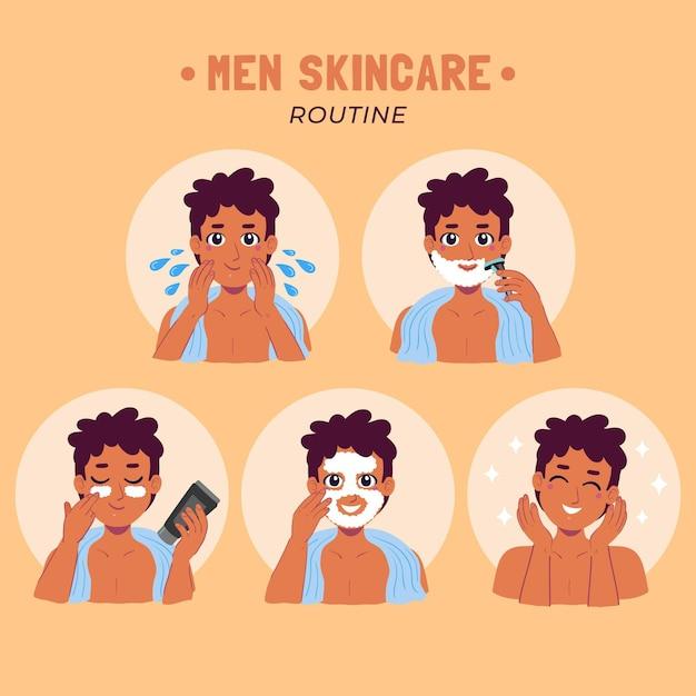 Passos para a rotina de cuidados com a pele masculina Vetor grátis