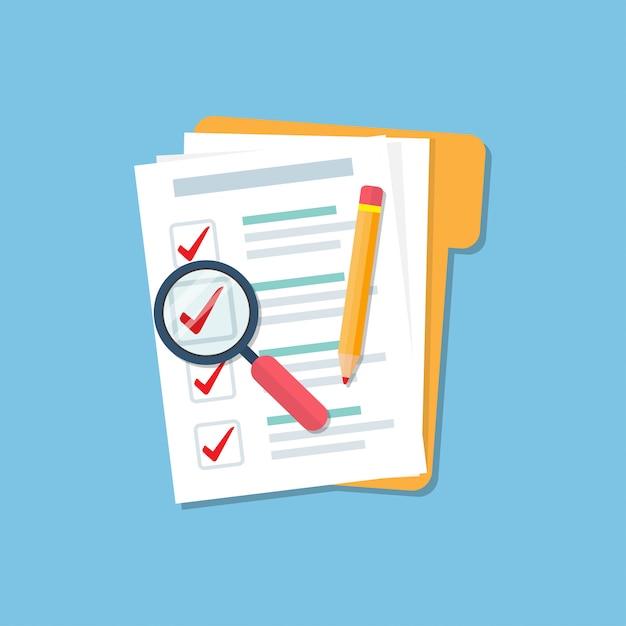 Pasta com lista de verificação do documento, ampliar o vidro e lápis em um design plano. conceito de auditoria Vetor Premium