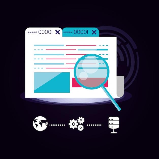 Pasta de documentos com o ícone do data center Vetor Premium