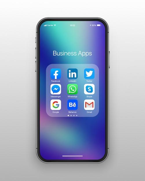 Pasta smartphone negócios ícones mídia social Vetor Premium