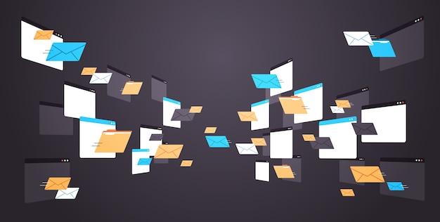 Pastas correio envelopes nuvem internet dados arquivo ícone documentos janela do navegador ilustração vetorial horizontal Vetor Premium