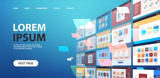 Pastas correio envelopes nuvem internet dados arquivo ícone documentos janela do navegador sistema operacional interface do usuário espaço cópia horizontal ilustração vetorial Vetor Premium