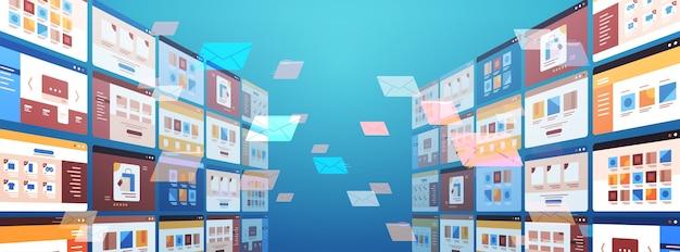Pastas correio envelopes nuvem internet dados arquivo ícone documentos janela do navegador sistema operacional interface do usuário ilustração vetorial horizontal Vetor Premium