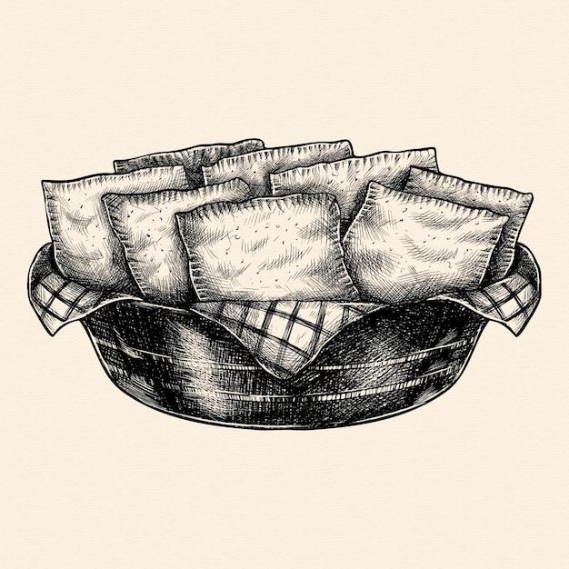 Pastel de comida brasileira desenhada à mão realista Vetor grátis