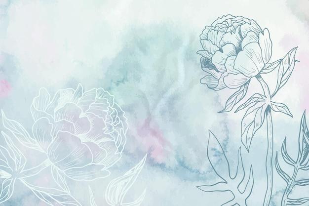 Pastel de pó azul cinza com fundo de flores de mão desenhada Vetor Premium