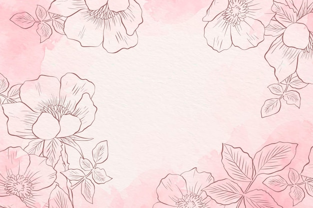 Pastel de pó com fundo de elementos de mão desenhada Vetor Premium