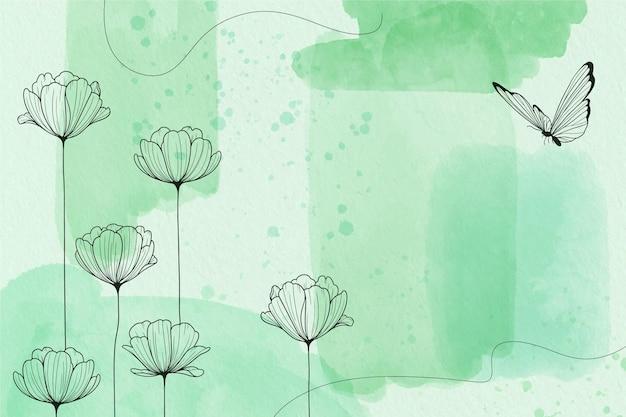Pastel de pó com fundo de elementos de mão desenhada Vetor grátis