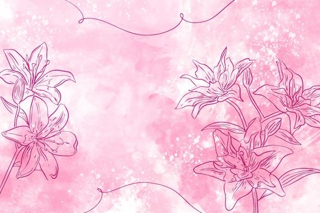 Pastel de pó com fundo de flores de mão desenhada Vetor grátis