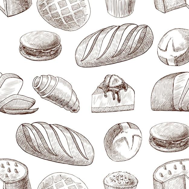 Pastelaria sem costura padrão vintage desenho estilo Vetor grátis