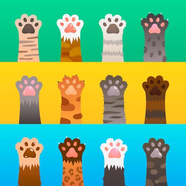 Pata de gatos plana. patas de gato garra mão, animal bonito dos desenhos animados, engraçado caçador de peles. conceito de amizade de gatinho Vetor Premium