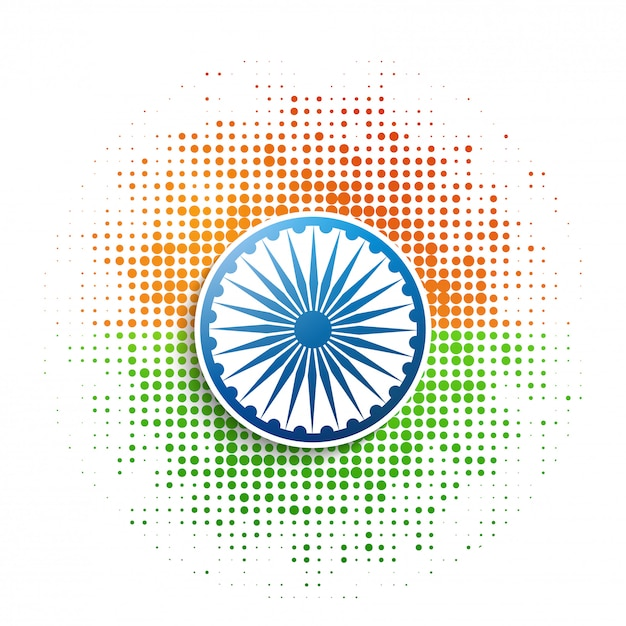 Patch de meio-tom indiano bandeira estilo Vetor Premium