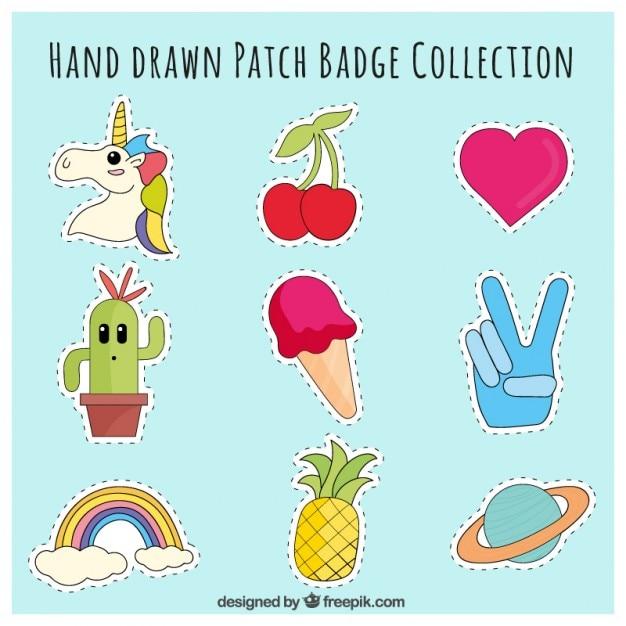 Patches desenhado à mão com temas variados Vetor grátis