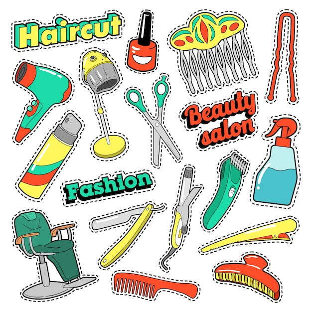 Patches, emblemas, adesivos de salão de beleza de cabelo com tesouras e pente. doodle vector Vetor Premium