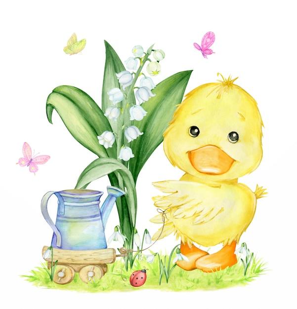 Patinho bonitinho, regador, lírio do vale, snowdrops, grama, carrinho de madeira e borboletas. clipart em aquarela, sobre um tema de primavera. Vetor Premium