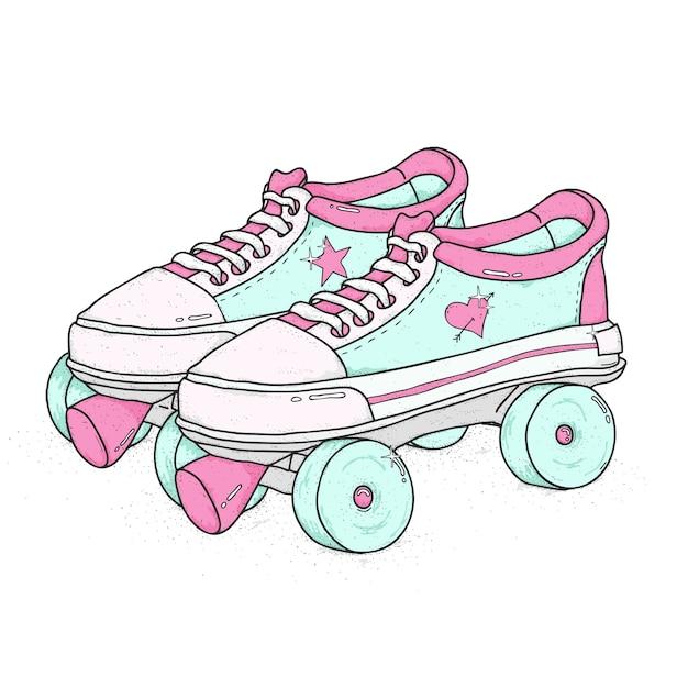 Patins de quadrilátero isolados. botas atadas retrô, ilustração vetorial colorida. Vetor Premium