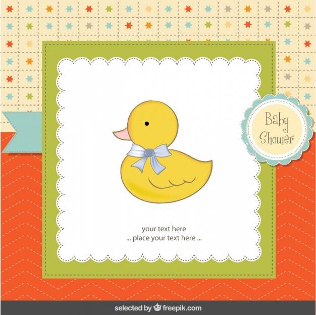 Pato adorável com cartão do chuveiro de bebê lopp Vetor grátis