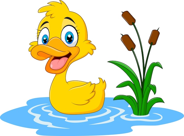 Pato de bebê fofo flutua na água Vetor Premium