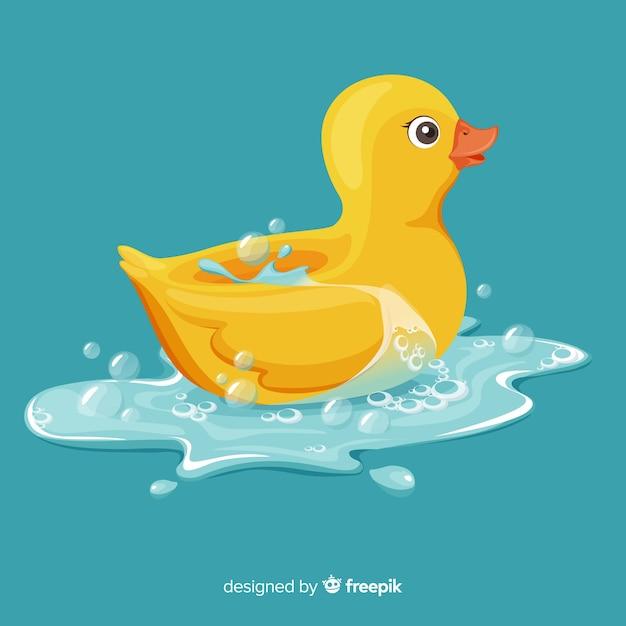 Pato de borracha amarelo liso ilustrado na água Vetor grátis
