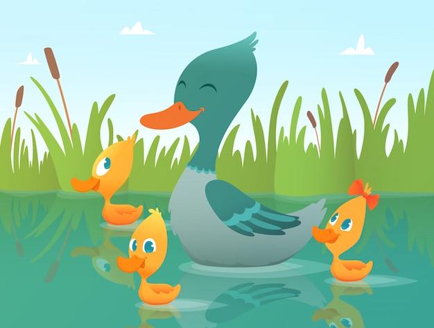 Pato de ilustração dos desenhos animados, patos engraçados Vetor Premium