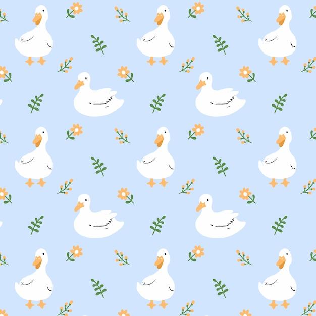 Pato e flor sem costura de fundo Vetor Premium