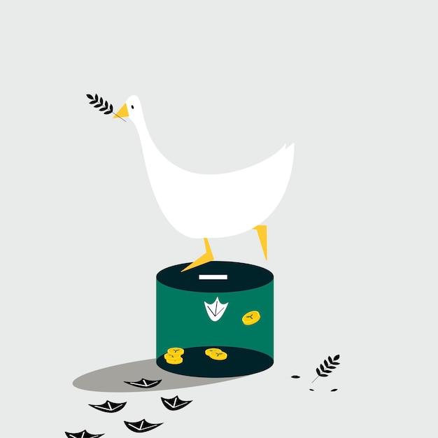 Pato em pé na caixa de doação Vetor grátis