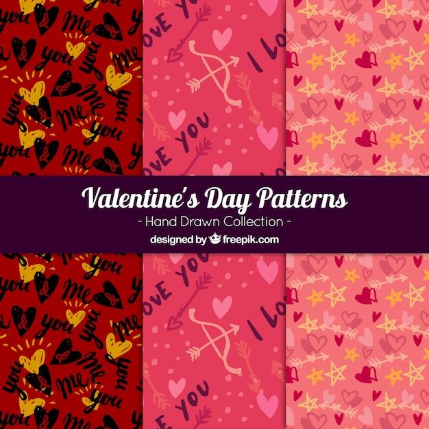 Patterns embalar com esboços de elementos valentine Vetor grátis