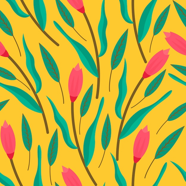 Pattren sem costura floral Vetor Premium