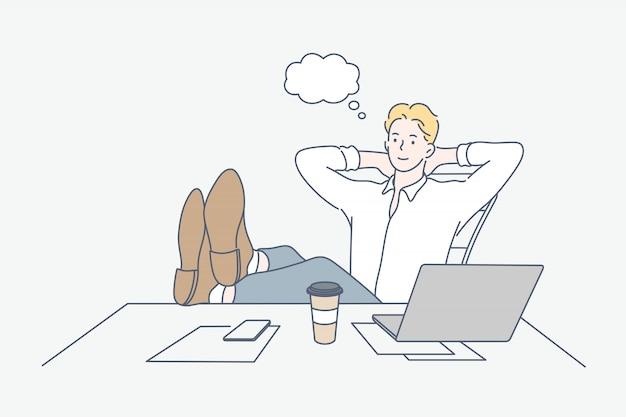 Pausa, descanso, sonho, conceito do negócio Vetor Premium