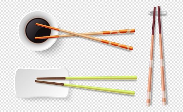 Pauzinhos. palitos de sushi de madeira coloridos, prato com molho de soja. Vetor Premium