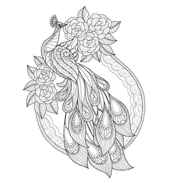 Pavão de mão desenhada e flor Vetor Premium