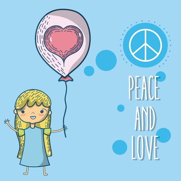 Paz E Amor Criancas Com Desenhos Animados De Balao Bonito Vetor