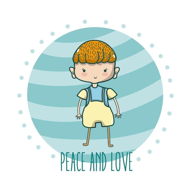 Paz E Amor Desenhos Animados De Criancas Fofos Vetor Premium