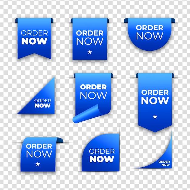 Peça agora coleção de rótulos Vetor Premium
