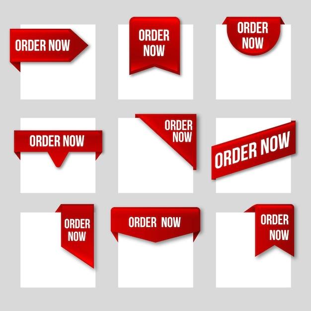 Peça agora - coleção de rótulos Vetor Premium
