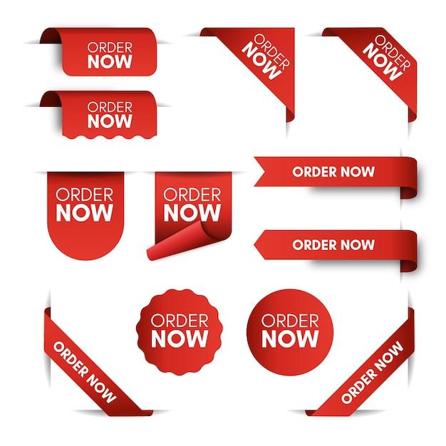 Peça agora rótulos promocionais Vetor Premium