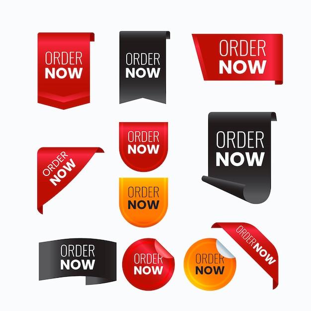 Peça criativa agora rótulos Vetor Premium