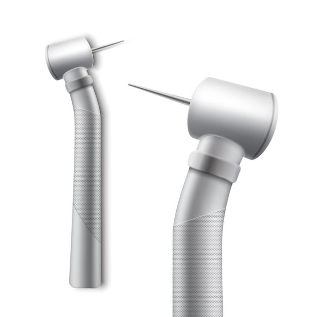 Peça de mão odontológica de vetor inoxidável para perfuração e retificação vista lateral isolada no fundo branco Vetor grátis