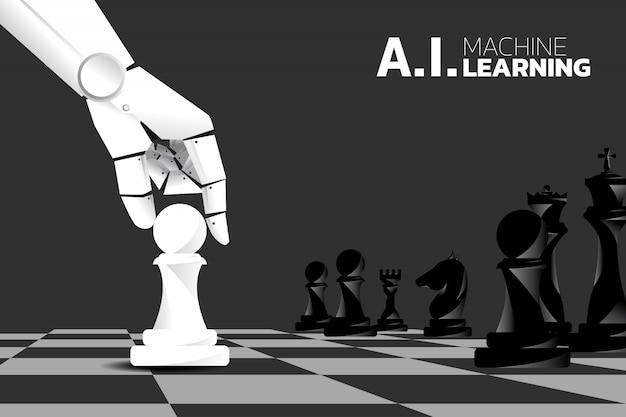 Peça de xadrez do movimento da mão do robô a bordo do jogo. aprendizado de máquina Vetor Premium