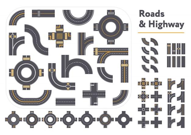 Peças de estradas e rodovias gráficas Vetor Premium