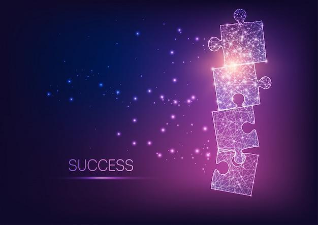 Peças de quebra-cabeça poligonal brilhante futurista brilhante como símbolo de estratégia, solução de negócios. Vetor Premium