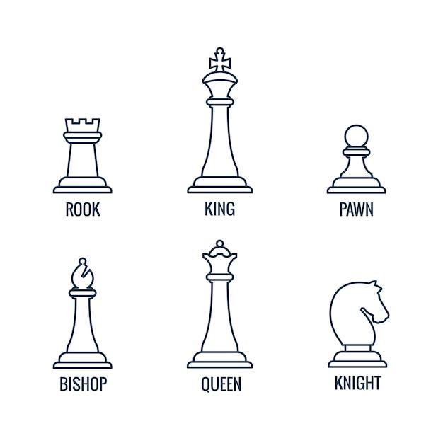 Peças de xadrez ícones de linha fina rei rainha bispo gralha cavaleiro peão Vetor Premium