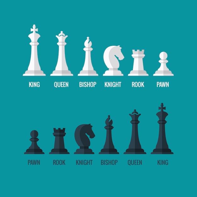 Peças de xadrez rei rainha bispo cavaleiro torre peão conjunto de ícones plana Vetor Premium