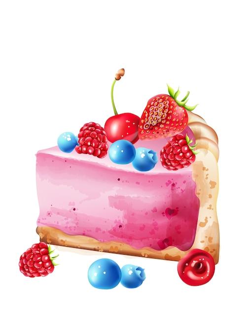 Pedaço de aquarela de cheesecake de baga com cobertura de mirtilo, morango, framboesa e cerejas Vetor Premium