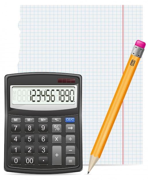 Pedaço de calculadora de ilustração vetorial papel e lápis Vetor Premium