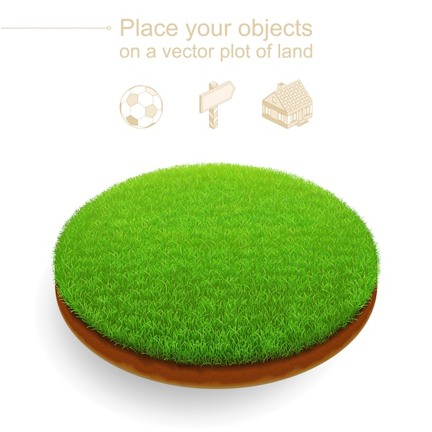Pedaço de gramado aparado. corte redondo de terra com uma grama verde densa e solo marrom. 3d realista Vetor Premium